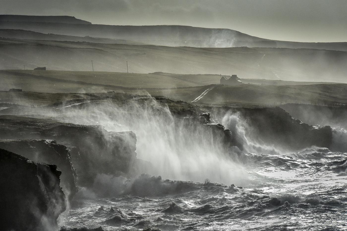 atlantic storm ireland doolin waves  crashing cliffs