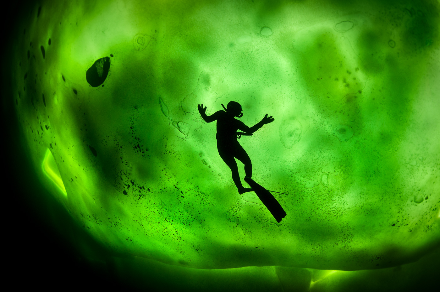 silhouette free diver under ice russia diving