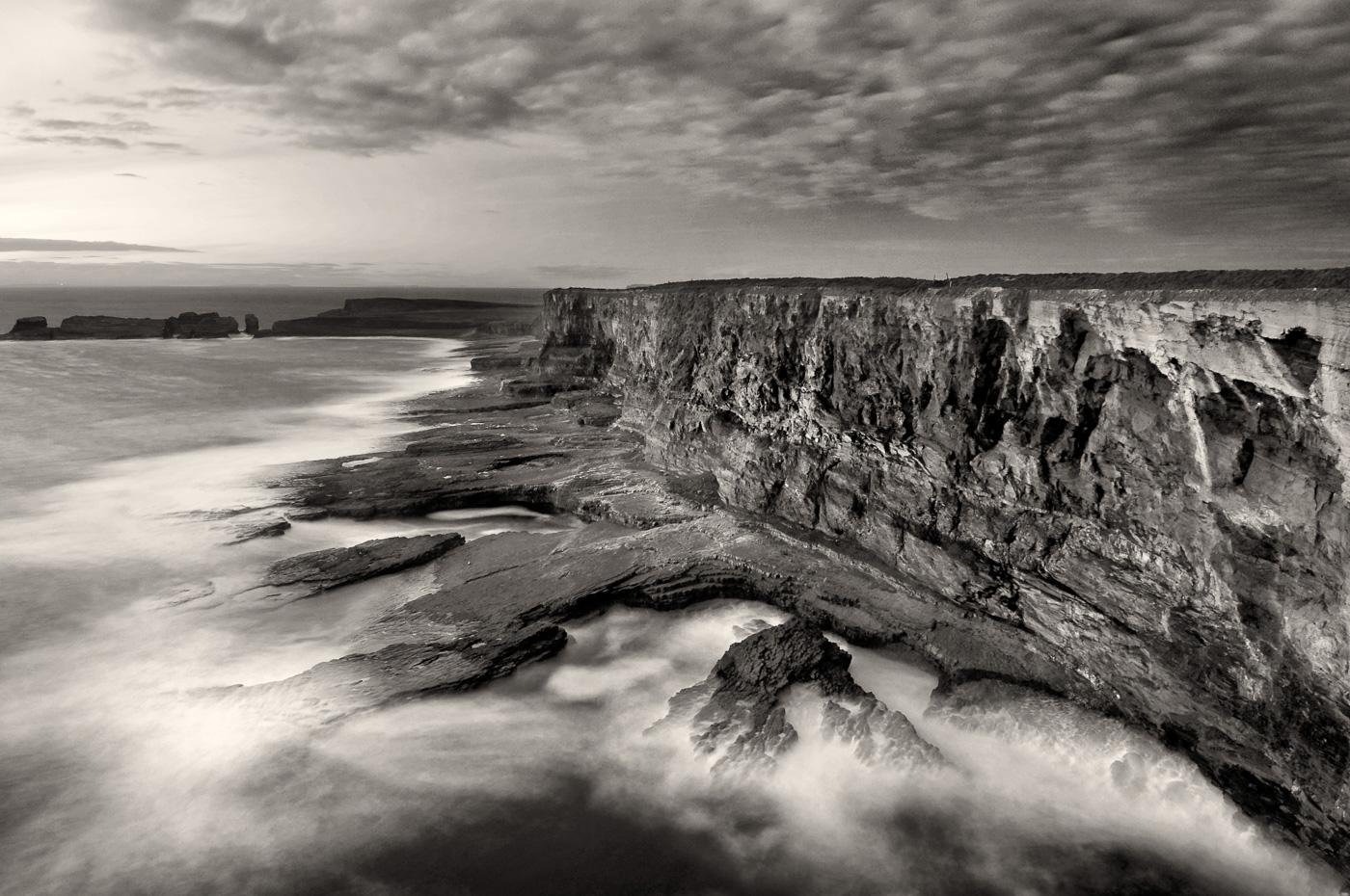 irish coastline black and white