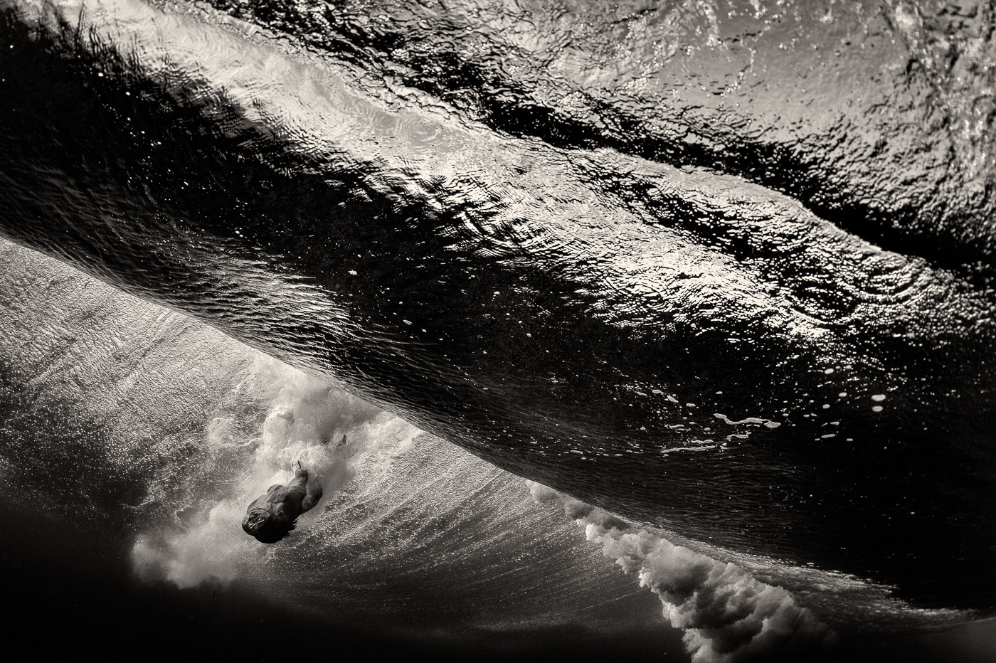 body surfing black and white