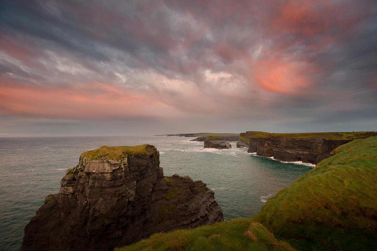 kilkee cliffs sunset