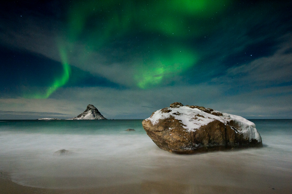 northern light puffin island sea beach norway