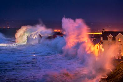 giant wave lahinch promenade storm photo