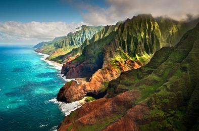 Napali na pali coast kauai aerial view Hawaii