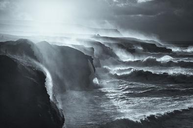 wild coast black and white ireland